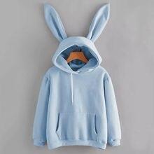 Jednokolorowe królicze długie uszy bluza z kapturem damskie z długim rękawem sweter damski bluza modne ciuchy Kawaii bluzki bluzka Dropshipping