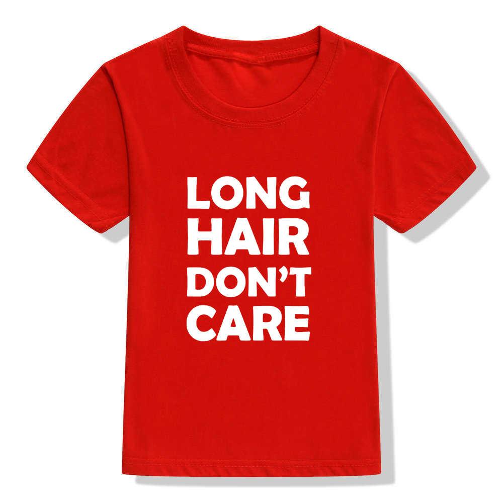 Lang Haar niet Care Kids Shirt Lange Haar Kid Shirt Jeugd of Peuter Zomer Mode Korte Mouw Zwart T shirt Cool Casual Tee
