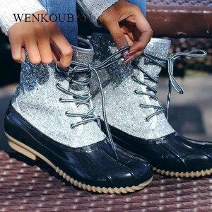 Image 1 - Mắt Cá Chân Giày Nữ Giày Nữ Mùa Đông Giày Boot Bling Đầm Nữ PVC Giày Đi Mưa Thời Trang Botines Mujer 2020