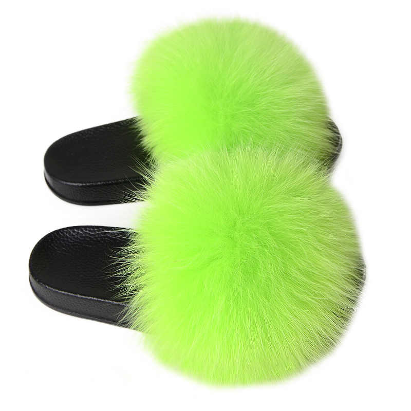 Vrouwen Vos Bont Slippers Echt Bont Slippers Luxe Echt Vossenbont Strand Sandaal Pluizige Comfy Furry Slippers