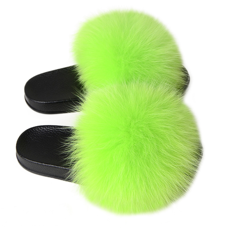 Women Fox Fur Slippers Real  Fur Slippers Luxury Real Fox Fur Beach Sandal Fluffy Comfy Furry Flip Flops