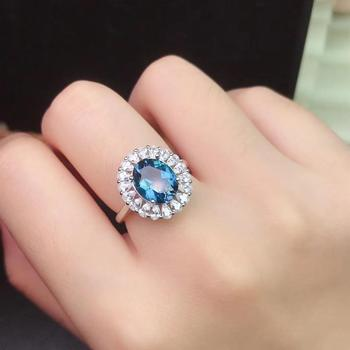 New Natural London Blue Topaz Ring 925 Silver High-end Atmospheric Main Stone Size 8x10mm charms genuine london blue topaz women engagement ring solid 925 sterling sliver fashion natural stone jewelry 2015 new arrival