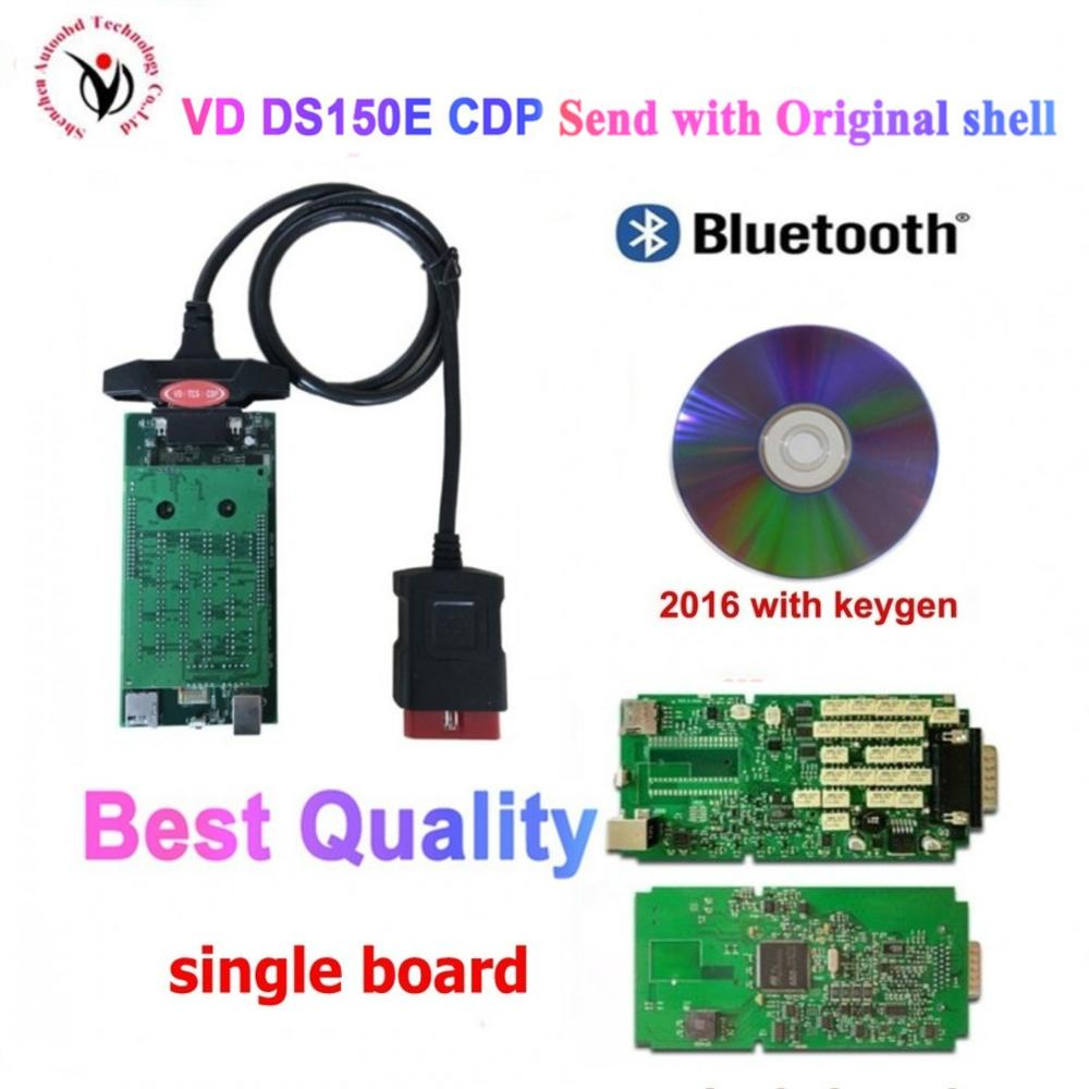 100% Original neue relais Single Board PCB neue vci mit bluetooth 2016R0 auf cd für delphis VD DS150E CDP vd tcs cdp mit shell