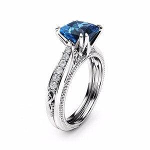 Image 3 - Rbnyd 2 senhoras de luxo romântico cristal anéis, quadrado elegante rosa ouro zircon casamento anéis de noivado, presentes de natal yr010