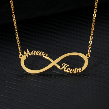 Custom Infinity Style Name Necklace Silver Gold Chain Stainless Steel Personalized Name Necklaces Women Couple Jewelry Gifts BFF personalized custom infinite name bracelet silver gold chain stainless steel nameplate charms couple jewelry for women men