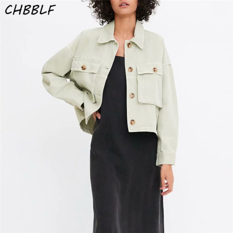 CHBBLF Women   basic     jacket   pockets single breasted turn down collar coat long sleeve vintage outerwear casual tops HJY8680