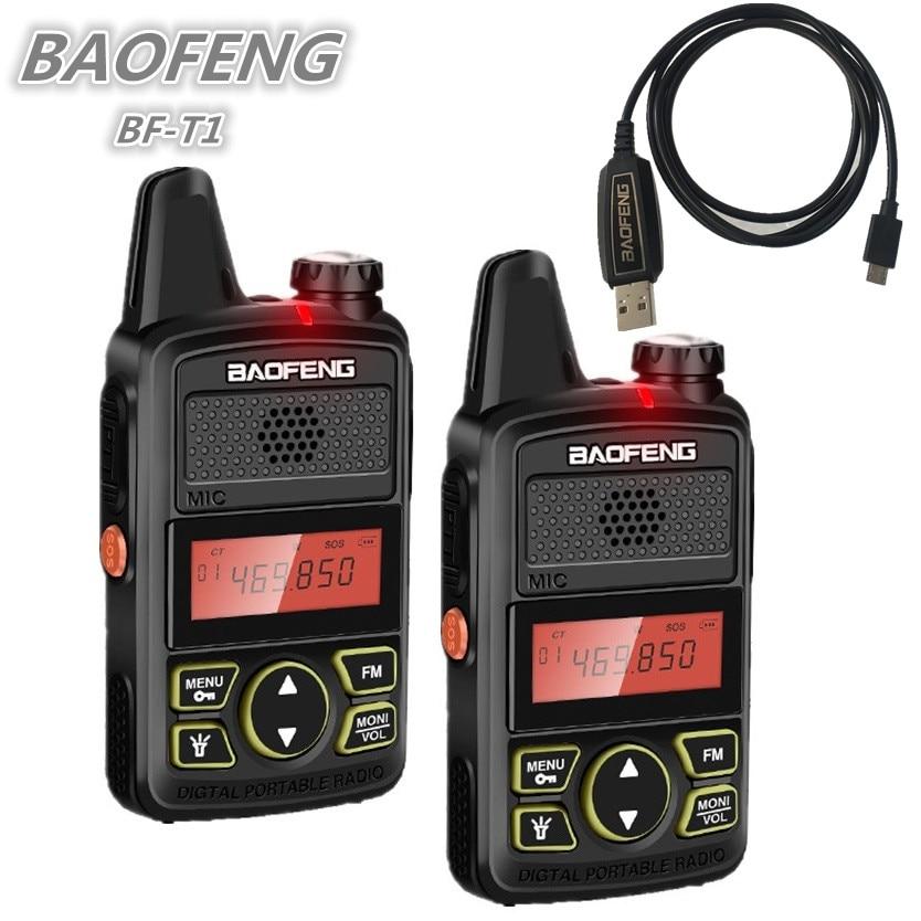 2PCS BAOFENG BF-T1 Mini Kids Walkie Talkie UHF Child Ham CB Radio Station BAOFENG T1 USB Charger Bf T1 HF Transceiver Amateur