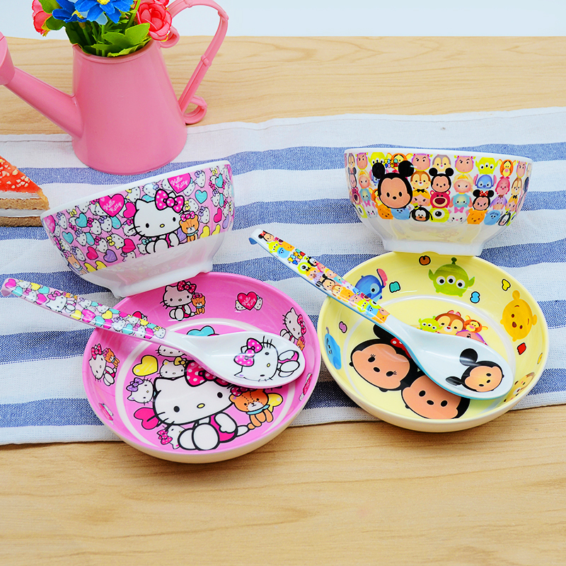 3pc/set Baby Cartoon Melamine Bowls Spoons And Plates Kid Anti-broken Food Feeding Products