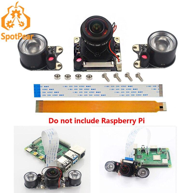Raspberry pi IR-CUT câmera lente de peixe, 5mp 175 graus para raspberry pi 4b/3b +/zero w