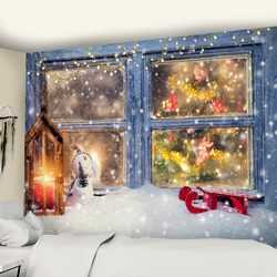 Christmas Popular Hanging Cloth False Window Scenery Outside The Window Tapestry Home Decoration Christmas Gift