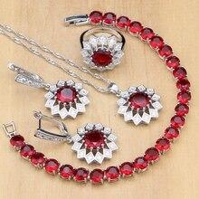 Flor joyería de plata 925 piedras Rojas blanco conjuntos de joyas de cristal para las mujeres pendientes/colgante/anillos/pulsera/collar