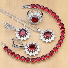 Flower Silver 925 Jewelry Red Stones White Crystal Jewelry Sets For Women Earrings/Pendant/Rings/Bracelet/Necklace Set
