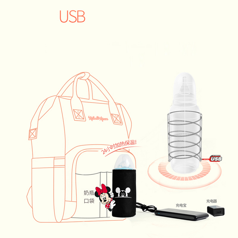 Disney Travel Diaper Bag Bolsa Maternidade Waterproof Stroller Bag USB Baby Bottle Warmer Mummy Backpack Nappy Bag Mickey Mouse