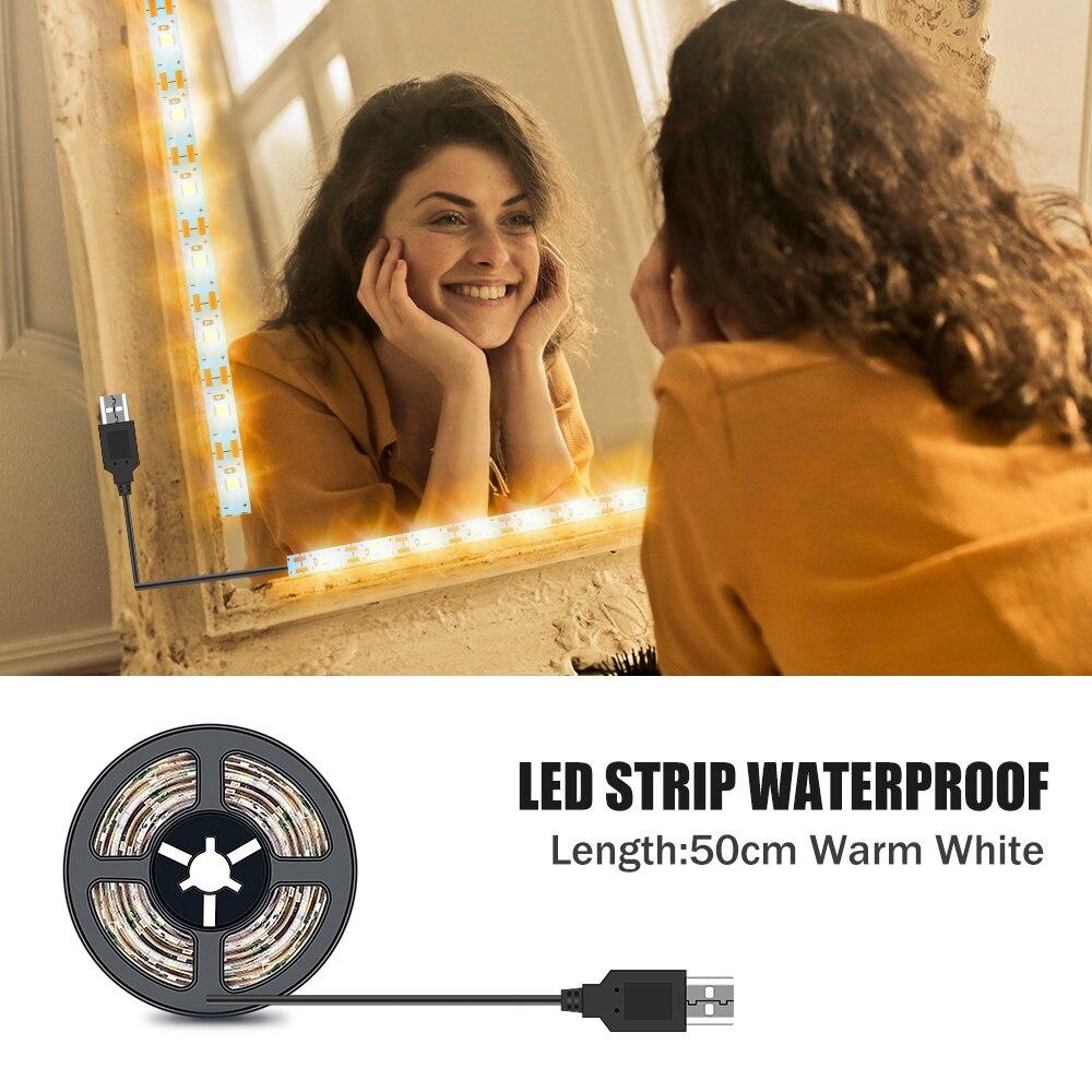 مقاوم للماء مرآة حمام ضوء الخلفية Led مصباح الشريط ل مرآة لوضع مساحيق التجميل USB 5 فولت Led تسريحة بخزانة الجمال مصباح 0.5 متر-5 متر