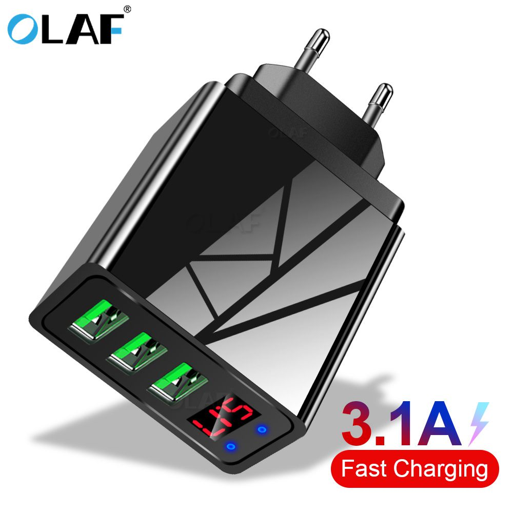 OLAF Usb-Charger Fast-Charging-Wall-Charger Led-Display Mobile-Phone Xiaomi 3-Port Samsung S10