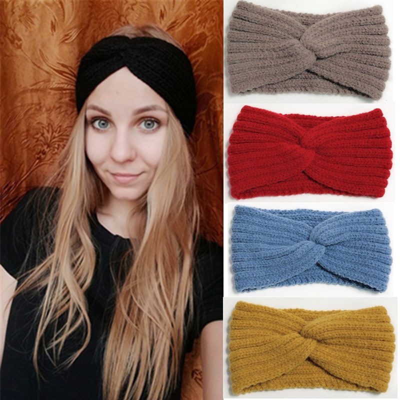 Inverno quente bandana para mulheres woolen tricô headbands lã malha elástica bandana headwear meninas faixa de cabelo acessórios para o cabelo