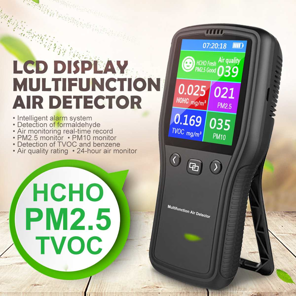Mini PM2.5 Air Detector Air Quality Monitor Digital Tester Appliance For Monitor Formaldehyde TVOC PM2.5 PM10 HCHO Gas Analyzer