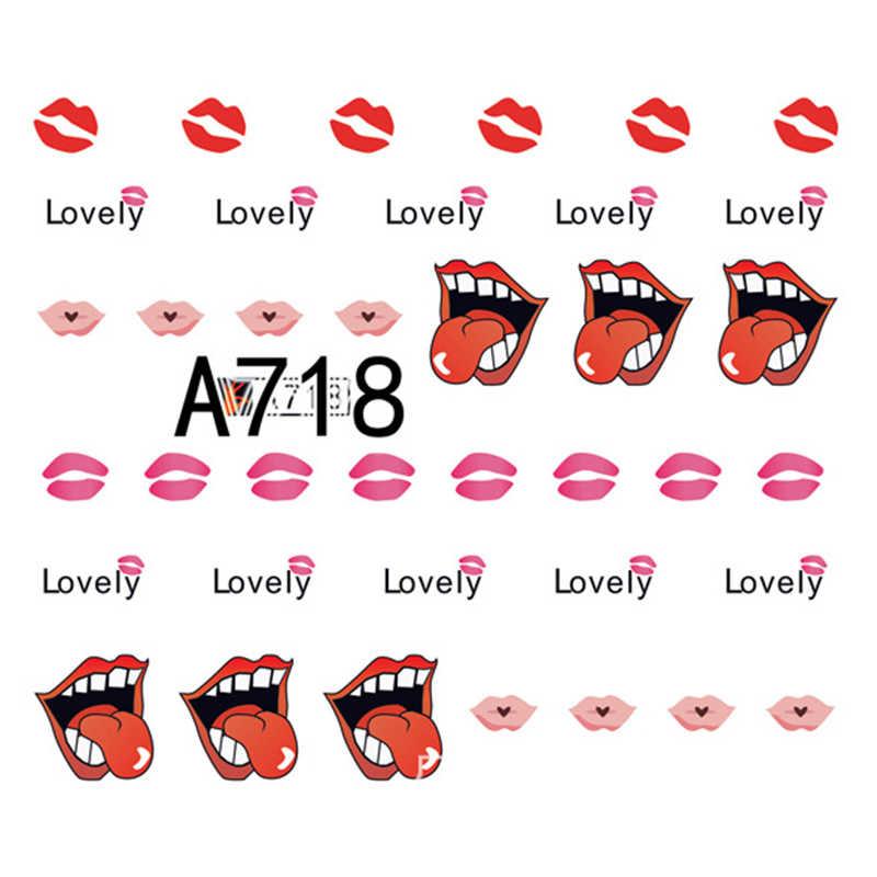 Gam-Belle Desain Baru 1 PC Bibir Seksi Kuku Stiker Valentine Transfer Air Slider untuk Manikur Kuku Seni dekorasi