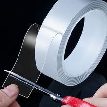 Cinta adhesiva multifunción Nano transparente de doble cara, adhesivo de Gel fuerte reutilizable, impermeable, mágica, 1/2/3/5m