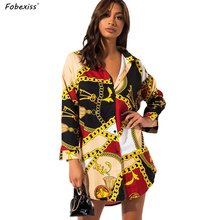 Chain Print Dress Women Long Sleeve Loose Casual Cardigan Buttoned Up Shirt Dress Autumn Women Clothing Plus Size Mini Dress bear print buttoned knitted cardigan