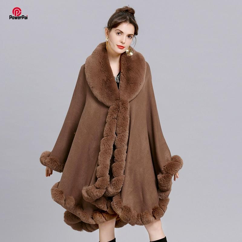 Elegant V Lapel Rex Rabbit Fur Coat Cape Winter Women Big Long Shawl Full Trim Faux Fur Cashmere Cloak Overcoat Parka 2019 New