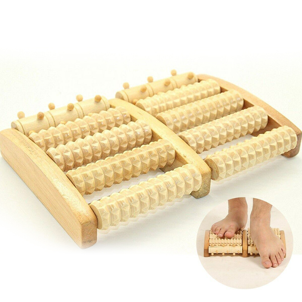 5 Roller Wooden Foot Massager Portable Home Entertainment Elderly Pain Relief Leg Shoulder Stress Relax Health Care Office Yoga