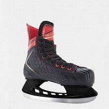 Chaussures de patin à glace thermo chaudes avec lame de glace confortable pour débutant, hiver professionnel PU pour adolescents et enfants