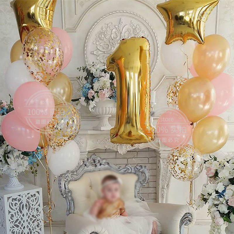 1set <font><b>Birthday</b></font> Party Balloon Digit <font><b>1</b></font> Helium Foil Balloons Boy <font><b>Girl</b></font> My <font><b>1</b></font> Years old Baloon Baby Shower Party <font><b>Decorations</b></font> Supplies image