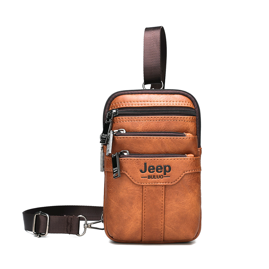 JEEP BULUO Men Shoulder Messenger Bags Small Multi-function Sling Chest Bag Legs Waist Bag For Man New Fashion Casual Crossbody