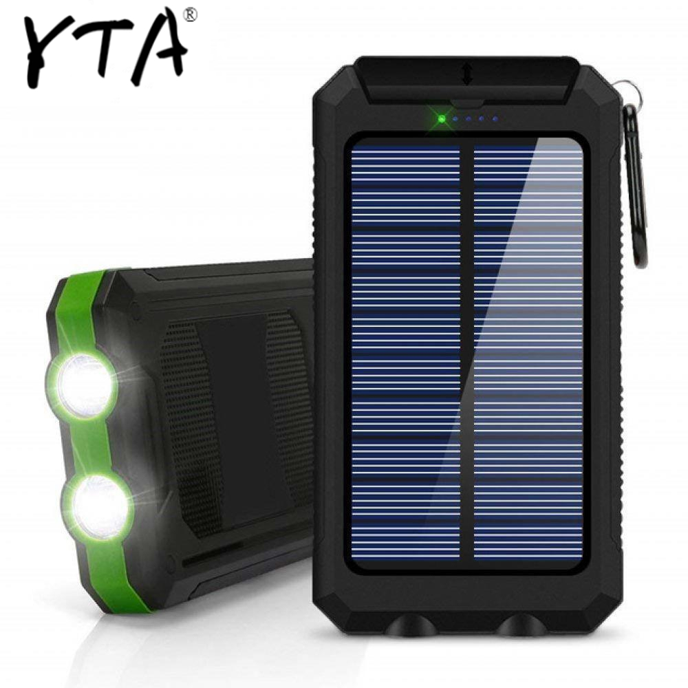 30000mAh Solar Power Bank Dual USB Powerbank Waterproof Battery External Portable Charging With LED Light 2USB Powerbank