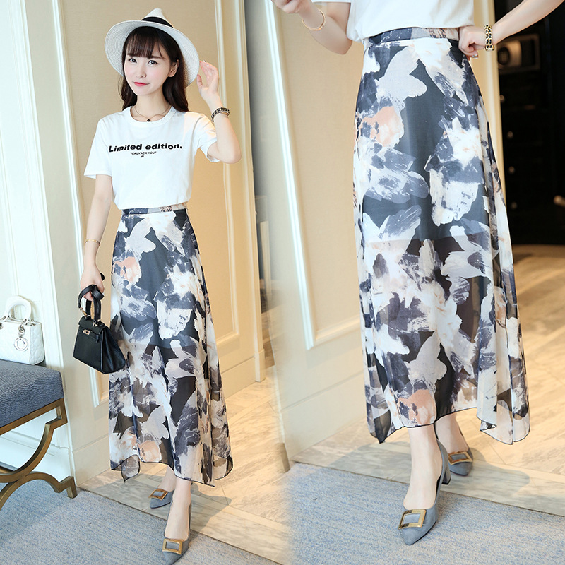 Korean-style Retro Side Slit Ink Flower Chiffon Maxi Dress