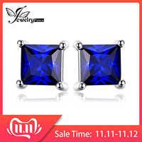 JewelryPalace Plaza 0.8ct creado zafiro azul de Plata de Ley 925, pendientes para las mujeres bien joyería de pendiente de la moda