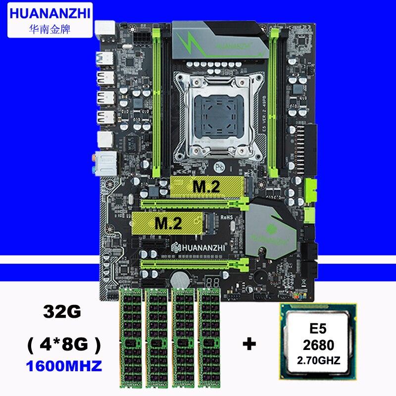 Descuento de hardware de computadora de la marca HUANAN ZHI X79 Placa base con M.2 ranura CPU Intel Xeon E5 2680 de 2,7 GHz RAM 32G (4*8G) 1600 RECC