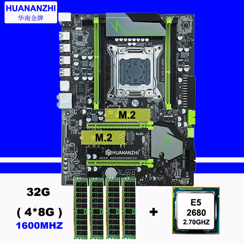 Placa base HUANAN ZHI X79 con ranura m2 CPU Intel Xeon E5 2680 2,7 GHz RAM 32G (4*8G) 1600 RECC