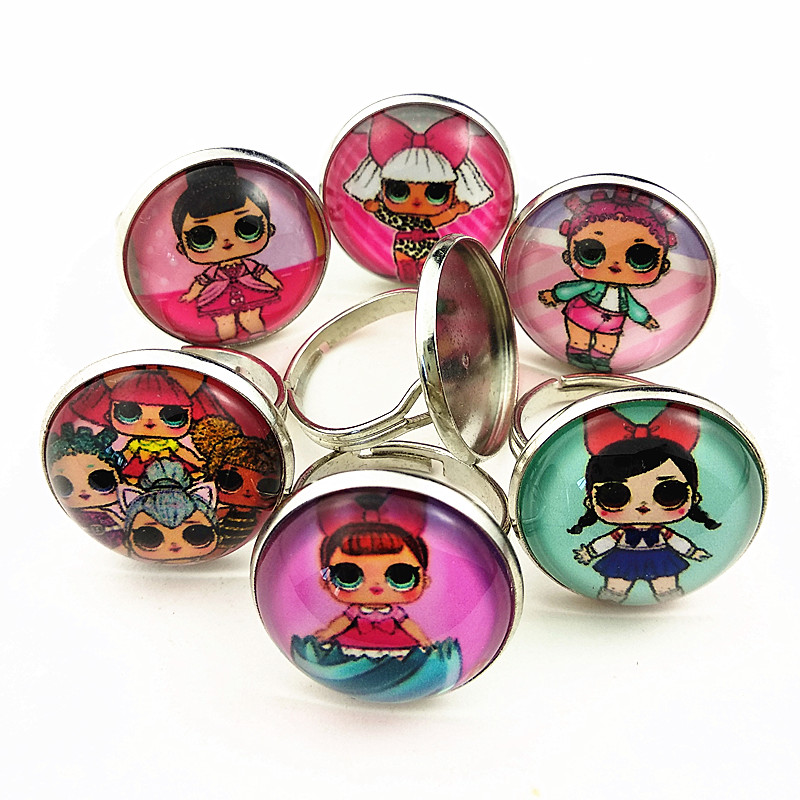 24 шт новые стили мультфильм кукла красочные бусы стеклянные браслеты ожерелье брелок кольцо серьги ювелирные изделия серии для девочек - Окраска металла: Покрытие антикварной медью