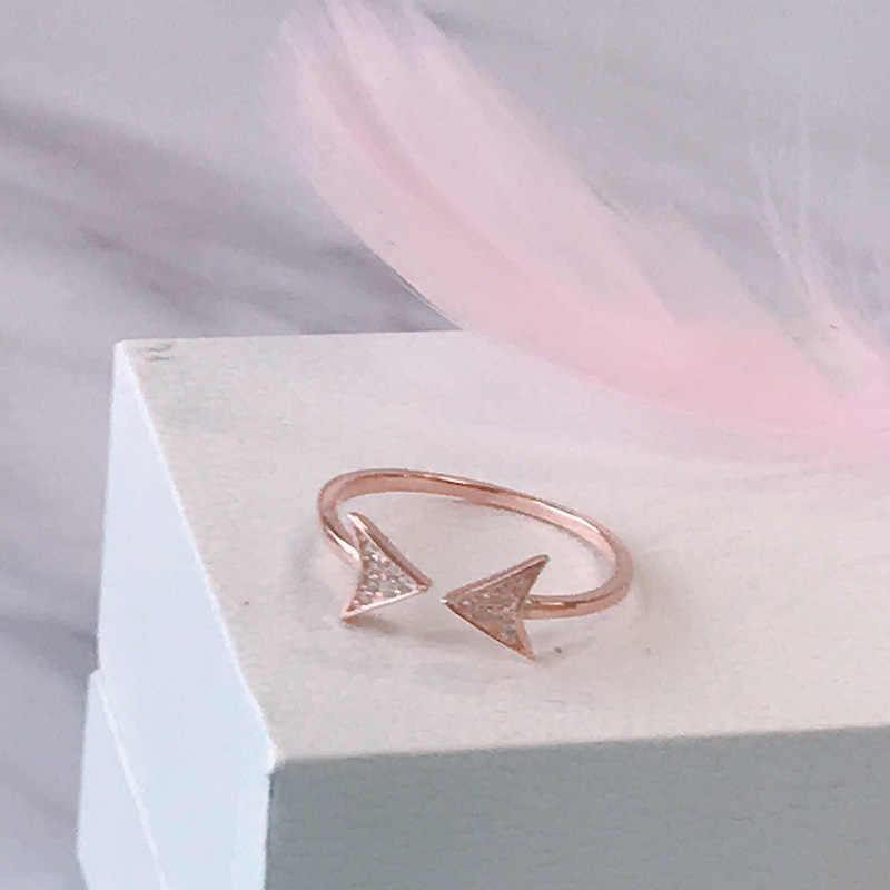 Starland OL סגנון 925 סטרלינג כסף חץ של אהבת טבעות לנשים רוז זהב פשוט סגנון משולש טבעת חתונה טבעת