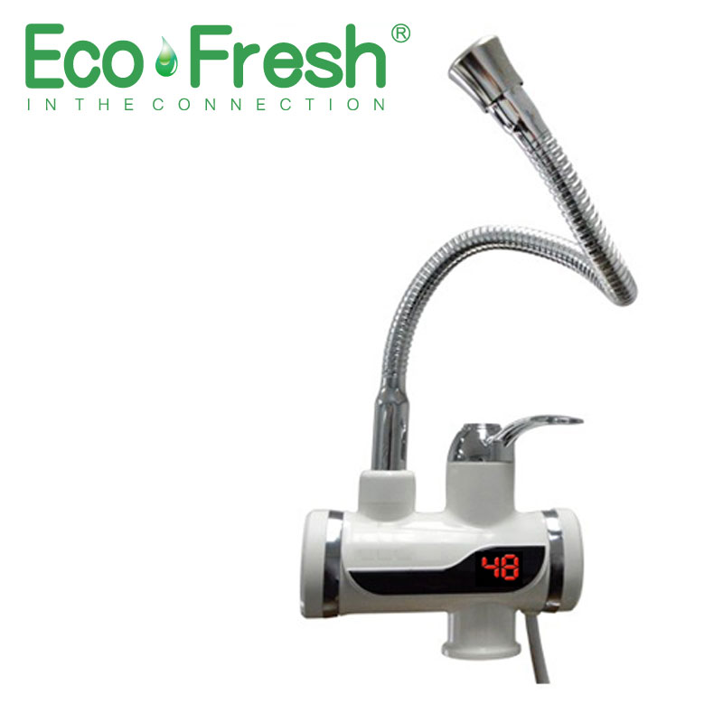 Ecofresh Electric Water Heater EU Plug LED Digital Temperature Display With 360 Degree Rotate Pipe