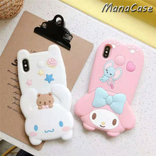 Cute 3D Cat Melody Pudding Dog Cartoon Lanyard Phone Case For iPhone X XS MAX XR 6 6s 7 8 Plus Silica Gel Back Cover