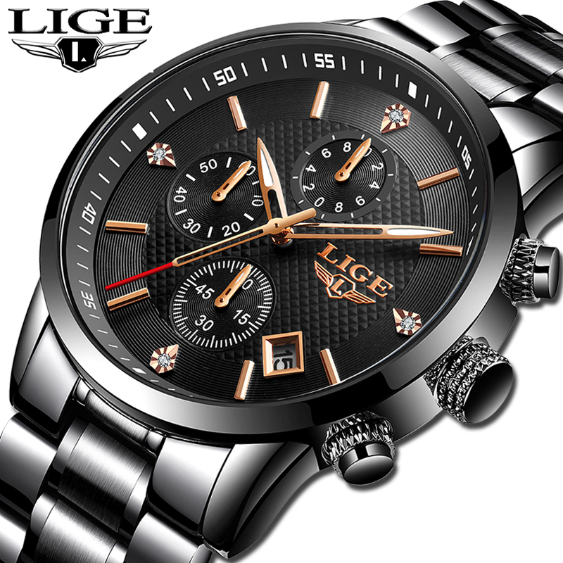 2020 Fashion Mens Watches LIGE Top Brand Luxury Quartz Wrist Watch Men All Steel Waterproof Sport Chronograph Relogio Masculino