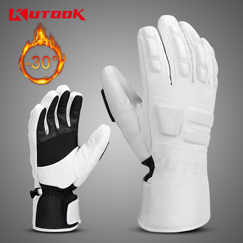 KUTOOK Winter Waterproof Skiing Gloves Goat Leather Windproof For Men Women Warm Snowboard Snowmobile Thermal Snow Ski Gloves