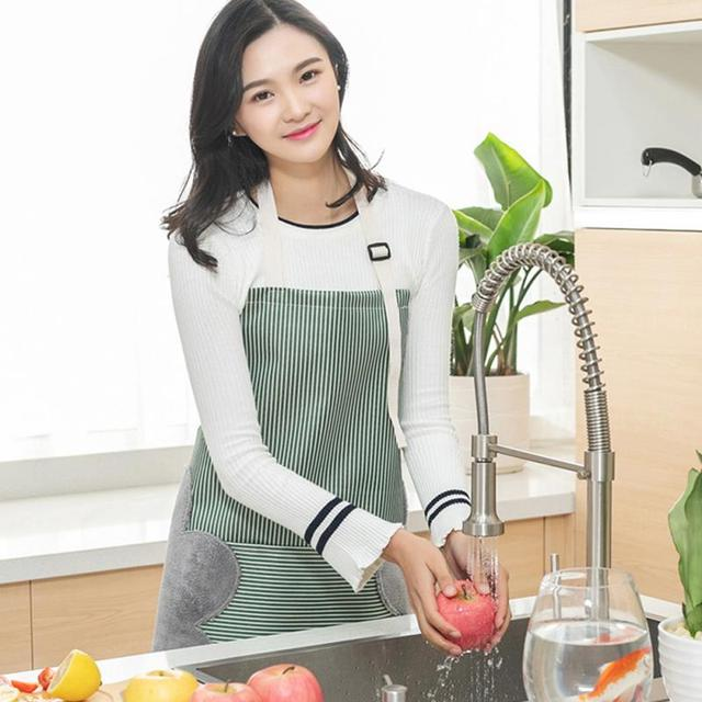 Apron For Women Waterproof Apron Cotton Linen Wasy To Clean Home Tools Kitchen Baking Accessories Cooking Delantal Cocina Home 3
