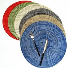 Posavasos, mantel, almohadilla aislante de ramio, manteles individuales de diseño redondo sólido, accesorios de cocina antideslizantes de lino