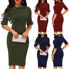 New Spring Half Sleeve Full Solid Dress Ladies Casual Women Dresses