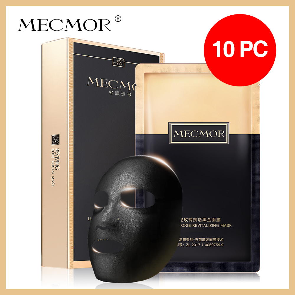 Rose Revitalizing Carbon Facial Mask Cleanser Moisturizing MECMOR Additive Free Natural Organic Black Gold Face Sheet Set