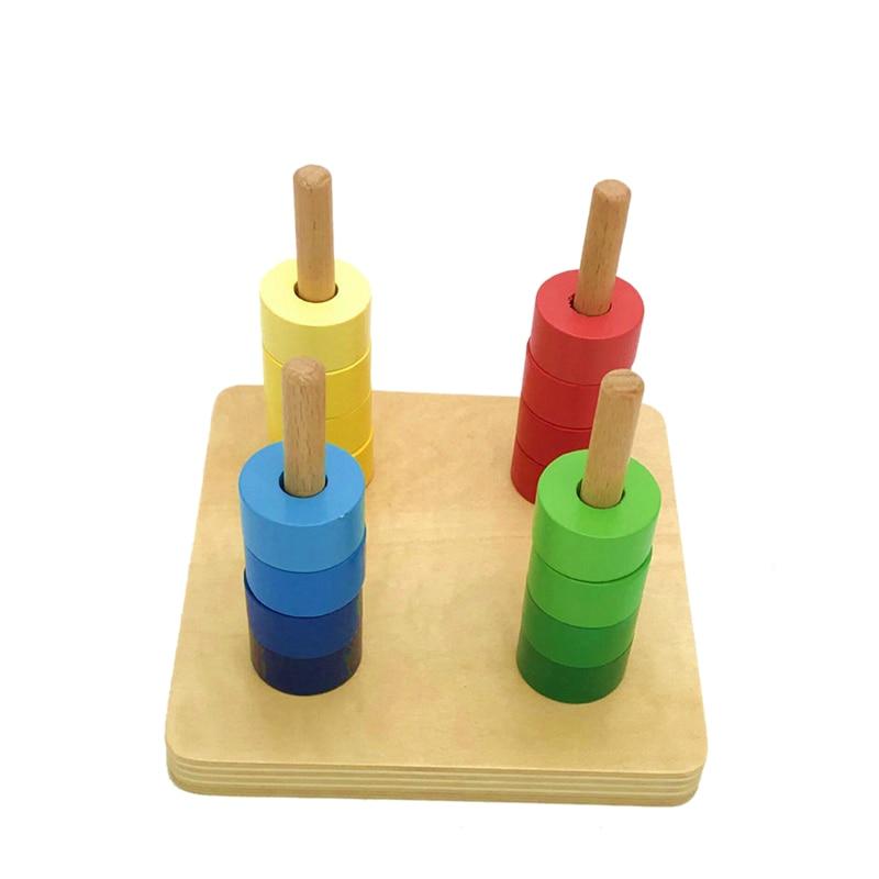 17 Pcs Children Toys Balanced Collar Baby Wooden Cylindrical Ring Preschool Training Toys Intellectual Development Teaching Aids