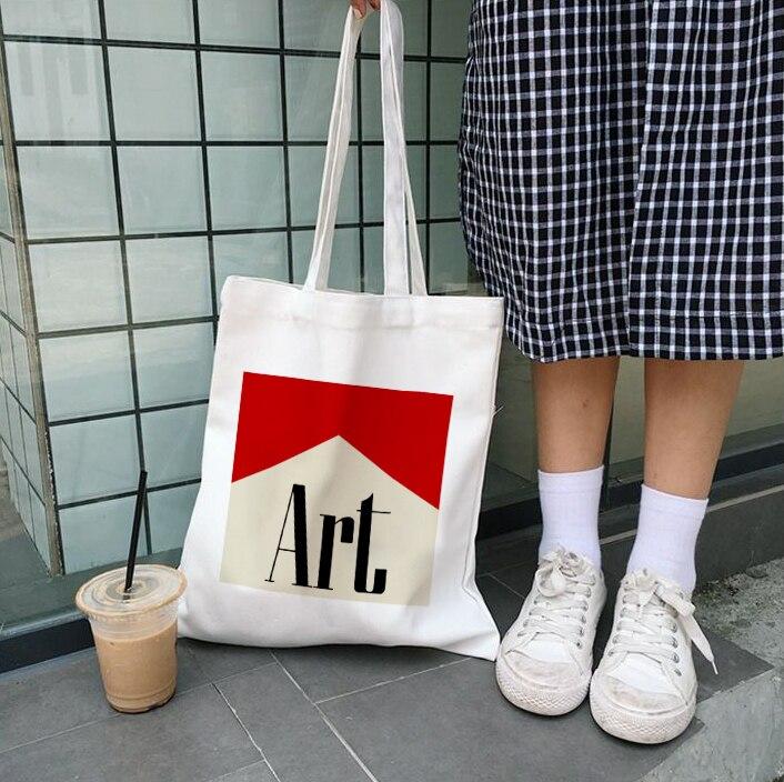 Art Aesthetic Harajuku Women Canvas Shoulder Bag Shopping Bags Students' Book Bag Handbags Tote For Girls Ulzzang Messenger Bags