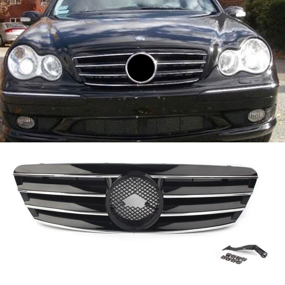 กระจังหน้ารถยนต์ 4-PIN ย่างสำหรับ Mercedes Bens C-Class W203 C230 C240 C320 C32 C220 2000 2001 2002 2003 2004 2005 2006 W/สัญลักษณ์