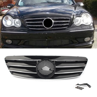 Car Front Grill 4 Pin Grill For Mercedes Bens C Class W203 C230 C240 C320 C32 C220 2000 2001 2002 2003 2004 05 2006 Chrome black