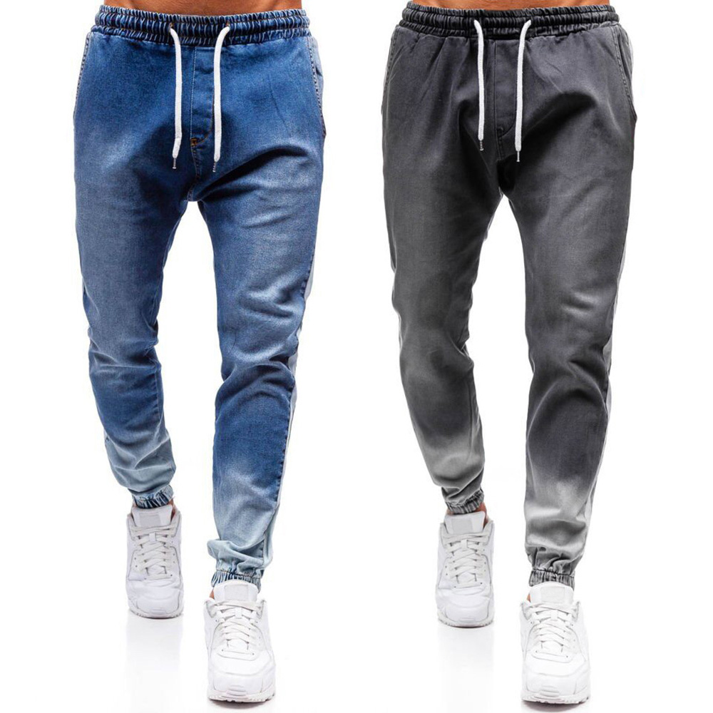 Men's Washed Denim Pants Side Striped Drawstring Taper Jeans Hip Hop Mid Waist Men Cargo Jeans Streetwear Full Length Jeans D30