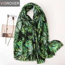Visrover Summer Tropical Beach Scarves Green Shawl Plant Lea